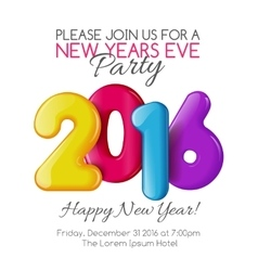 Invitation to New Year party with color numbers vector image vector image