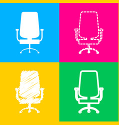 office chair sign four styles of icon on four vector image