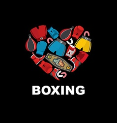 Symbol of the heart of boxing gear helmet shorts vector image