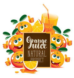 banner for fresh juice with funny oranges vector image