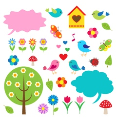 Birdstrees and bubbles for speech vector image vector image