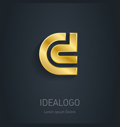 C and D initial gold logo Metallic 3d icon or vector image