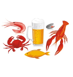 Mug of beer and snack to beer - seafood vector image vector image