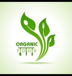 Organic food with kitchen utensils concept vector image vector image