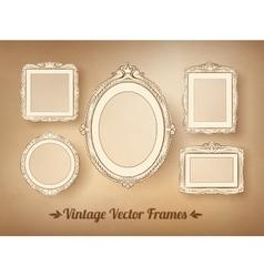 Vintage baroque frames set vector image