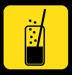 Yellow black sign - carbonated drink straw icon vector