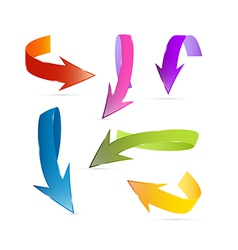 Colorful 3d Arrows Isolated on White Background vector image vector image