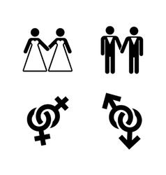 gay wedding icons set white vector image