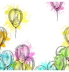 Hand drawn frame of balloons vector