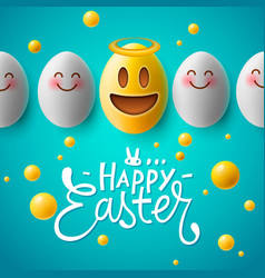 happy easter easter emoji eggs vector image vector image