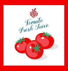organic red tomato juice sticker vector image