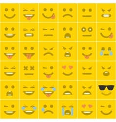 Set orange square smileys vector image