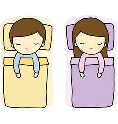Sleeping Boy and Girl vector image vector image