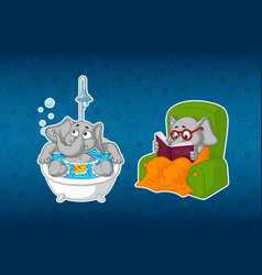 stickers elephants in the bathroom in the shower vector image