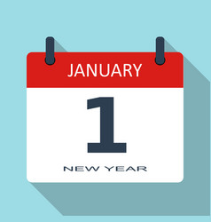 1 january new year day flat daily calenda vector image