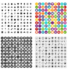 100 delicious dishes icons set variant vector