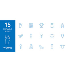 15 woman icons vector