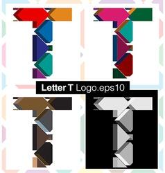 3d font letter t vector