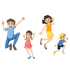 A happy family jumping vector image