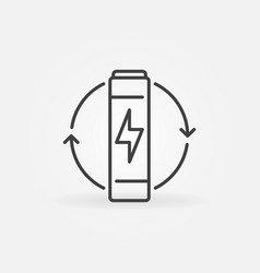 Aaa battery thin line concept icon or sign vector