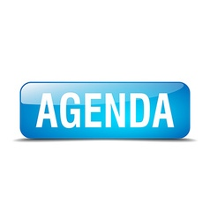agenda blue square 3d realistic isolated web vector image vector image