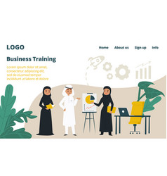 arab business training landing web page concept vector image