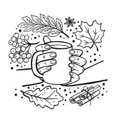 Autumn mug in hands hand drawn monochrome vector