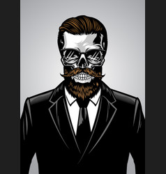 bearded hipster skull wearing suit vector image