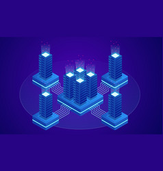 big data storage and cloud computing technology vector image