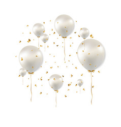 Birthday card with white balloons vector