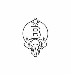 Black line art elephant head with b initial vector