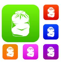 Black trash bag set collection vector