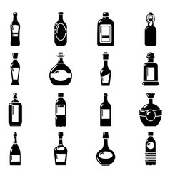 bottles icons set simple style vector image