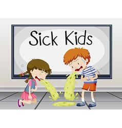 Boy and girl getting sick vector