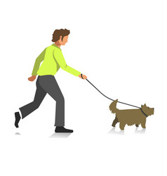 Boy walking dog colorful full length vector