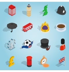 Britain set icons isometric 3d style vector image