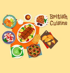 british cuisine traditional meat dishes icon vector image