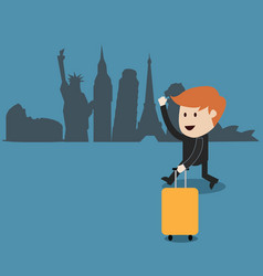 business man travel around the world vector image