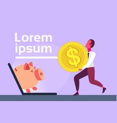 businessman carry dollar coin laptop screen piggy vector image
