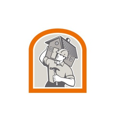 Carpenter Builder Carrying House Retro vector image