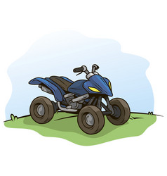 Cartoon blue modern offroad quad motorbike vector