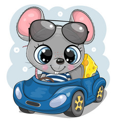 Cartoon mouse with cheese in glasses goes on a vector