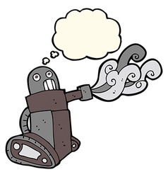 Cartoon tank robot with thought bubble vector