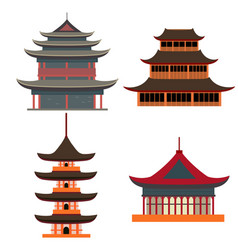 cartoon traditional asian house objects set vector image