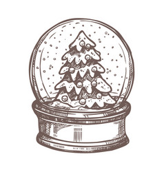 christmas card with snowglobe in sketch style vector image