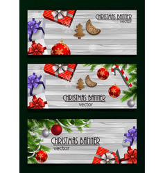christmas new year web banner set vector image