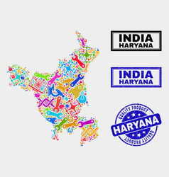 Collage tools haryana state map and quality vector