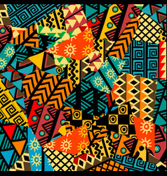 Colored african patchwork background with african vector