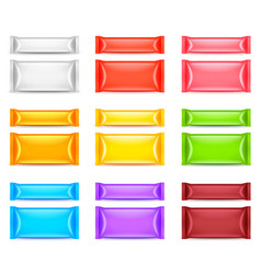 colorful food packaging template 3d set vector image