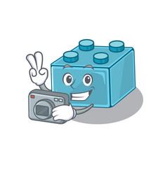 Cool photographer lego brick toys character vector